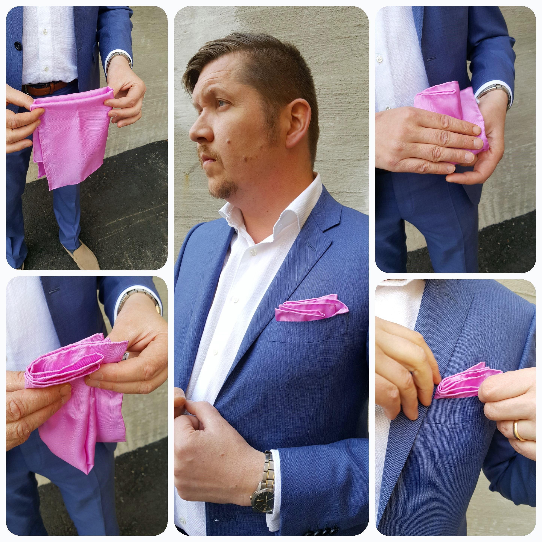 nenäliinan taittelu pukuun